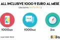 Wind All Inclusive 1000: 1000 min. 1000 sms e 2 GB internet a soli 9€ al mese.